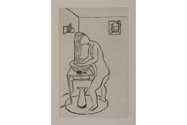 Louise Bourgeois, from Autobiographical Series, Toilette, 1994, Drypoint on paper, 14,4 x 9,1 cm