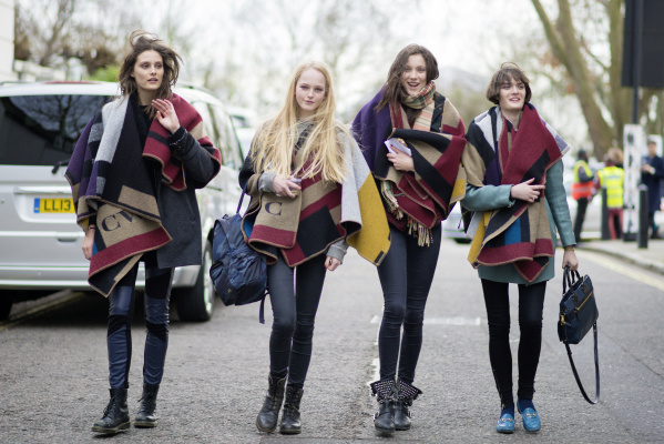 Charlotte Wiggins, Jean Campbell, Matilda Lowther and Sam Rollinson wearing Burberry Monogram Poncho - 17th February 2014