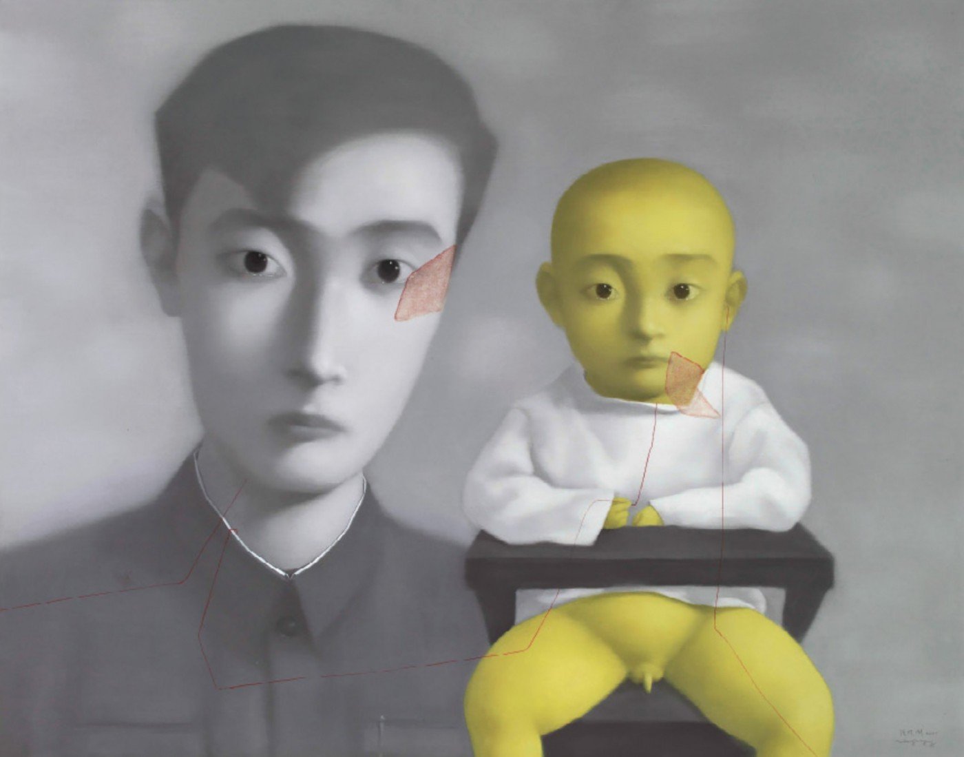 Zhang Xiaogang (B1958), Bloodline- BigFamily - Father and Son. 2001,oil on canvas, 150x190