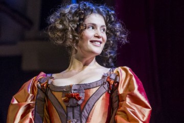 Gemma Arterton (Nell Gwynn) in Nell Gwynn at the Apollo Theatre. Photo credit Tristram Kenton