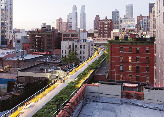 A Wildflower Field looking north toward West 29th Street, where the High Line begins a long, gentle curve towards the Hundson River