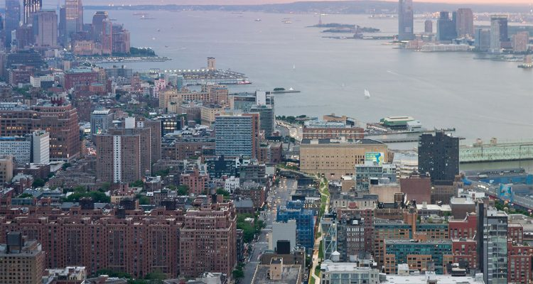 Front Cover. Aerial view of the regenerated High Lane running through Manhattan, New York looking south towards the Statue of Liberty and the World Trade Centre site
