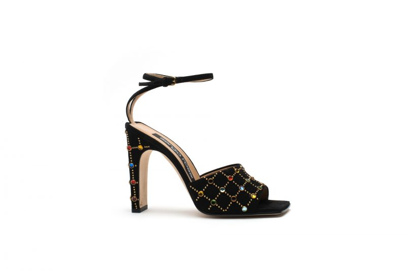 Black suede ankle strap sandal with multicolor glass gems