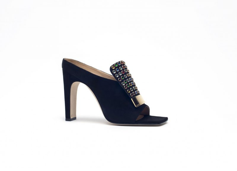 Black suede sabot with multicolor glass gems