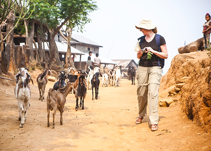 Story picture picture Good for change Hilary on a field visit in Nepal with a herd of goats provided by Heifer International Photo by Geoff Brugbee