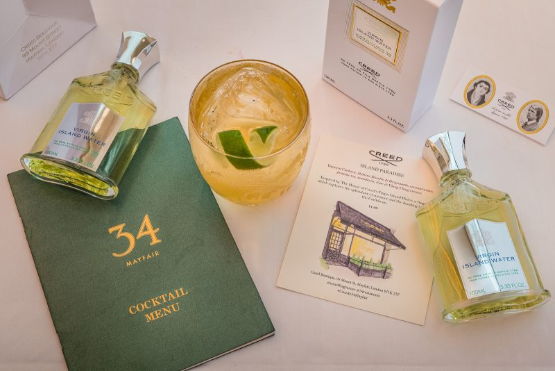 34 Mayfair X Creed Virgin Island Water singular book cocktail and dessert
